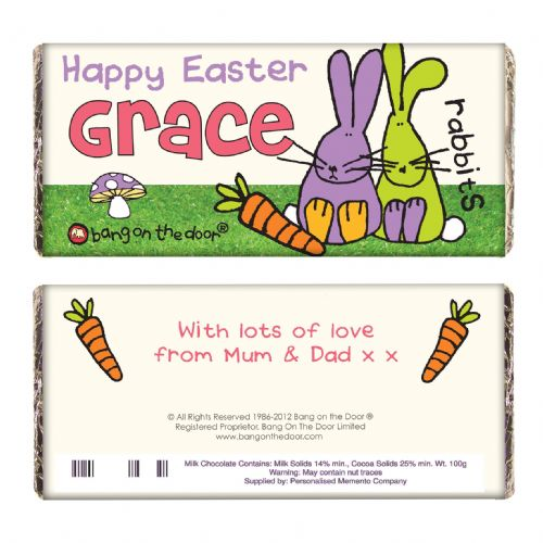 Personalised Bang on the Door Easter Bunny Chocolate Bar